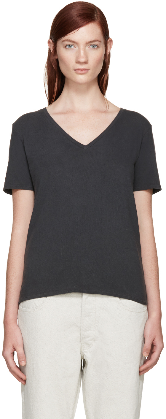 R13 black low v neck t shirt in black lyst for Low neck t shirts women s