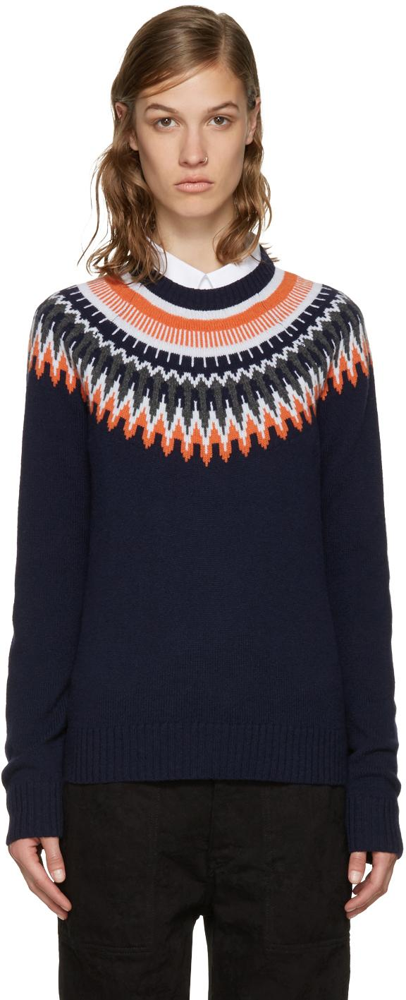 Ymc Navy & Orange Fairisle Sweater in Blue   Lyst