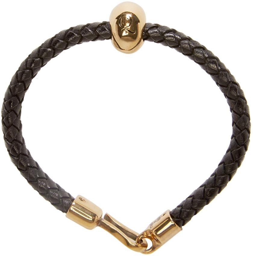 Alexander Mcqueen Black Leather Skull Bracelet In Black