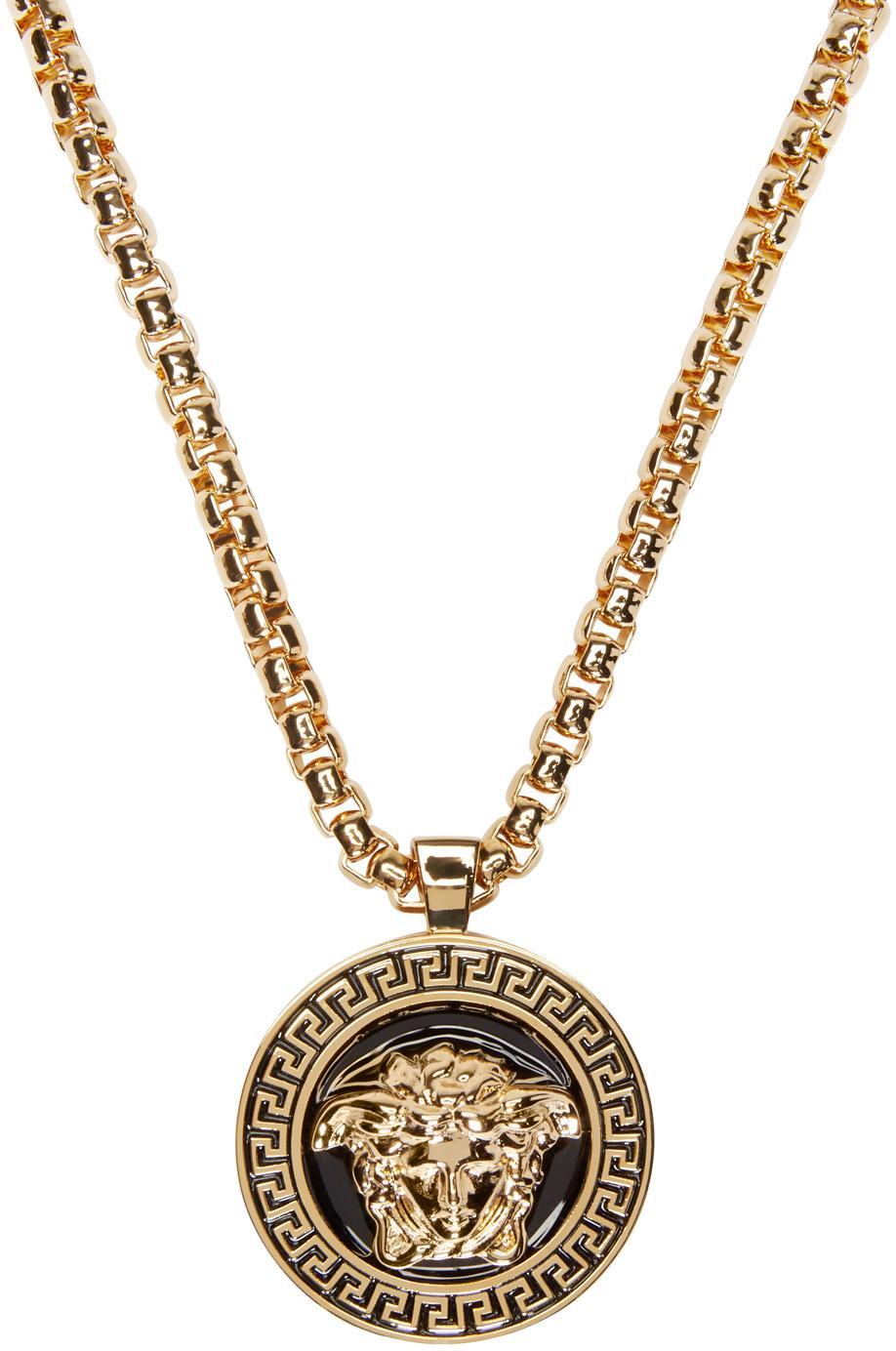 Versace Black Amp Gold Medusa Medalion Necklace In Black For