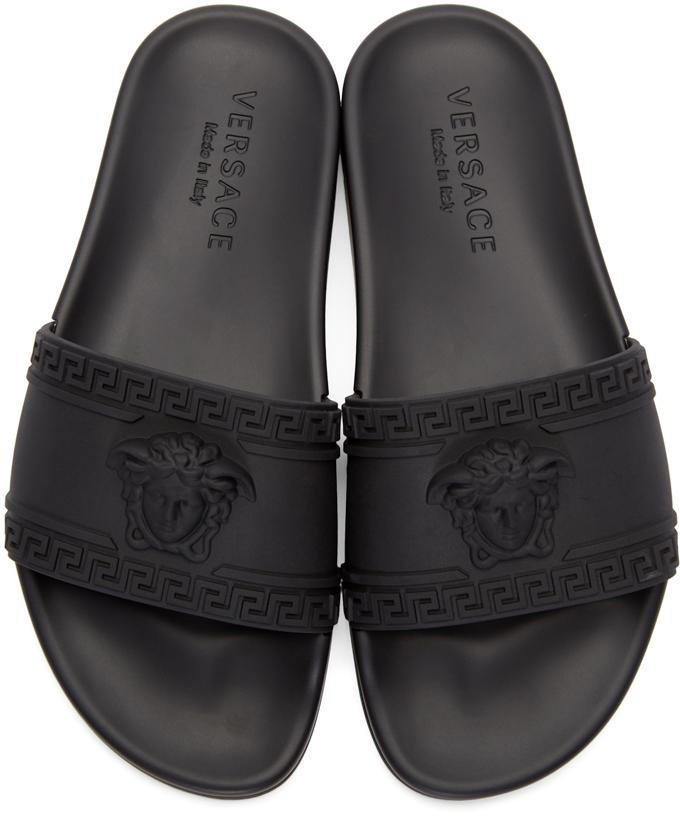 cc1de0a1f0f7 Lyst - Versace Medusa Rubber Slides in Black for Men
