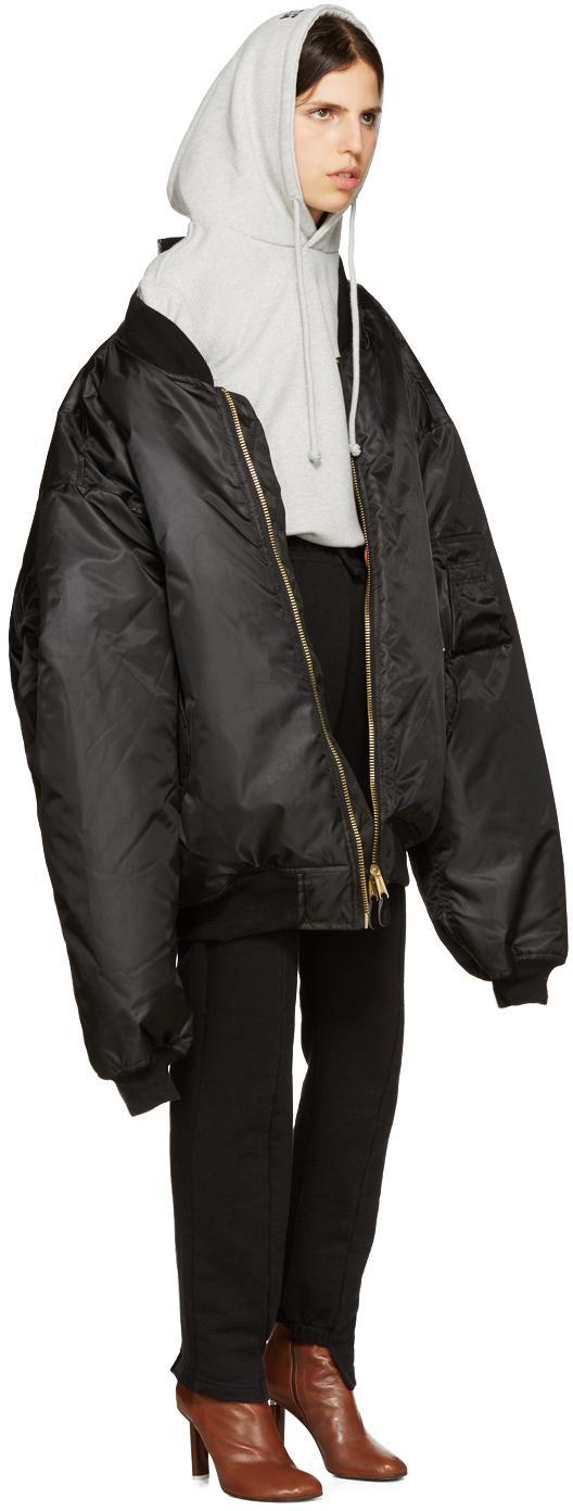 Vetements Oversized Bomber Jacket in Black