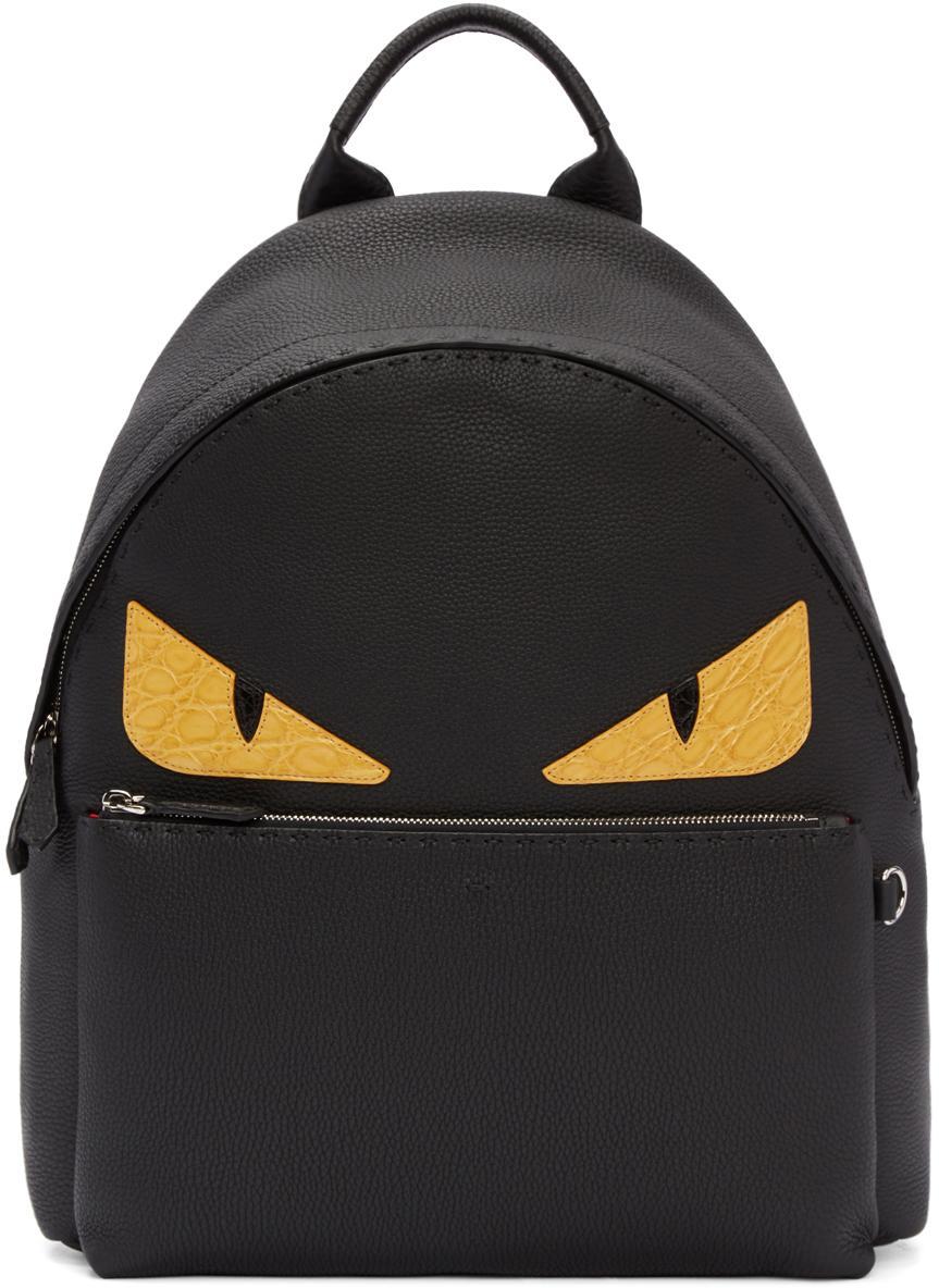 Lyst Fendi Black Leather Bag Bugs Backpack In Black For Men