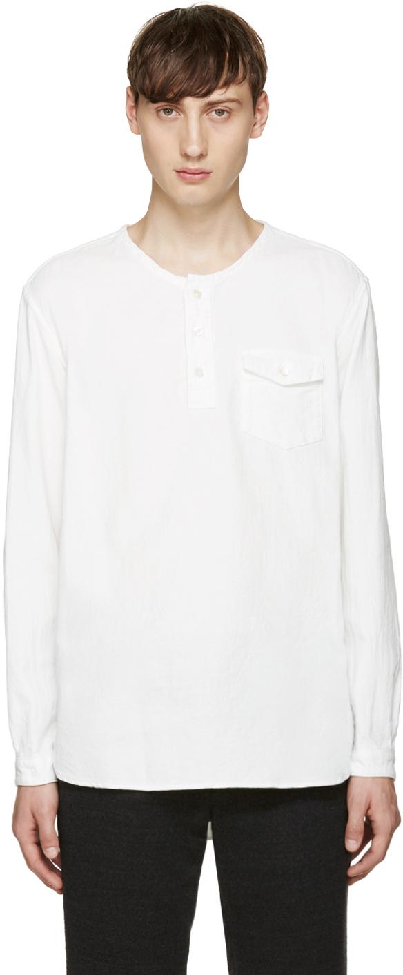 Blue blue japan white collarless shirt in white for men lyst for Collarless shirts for men