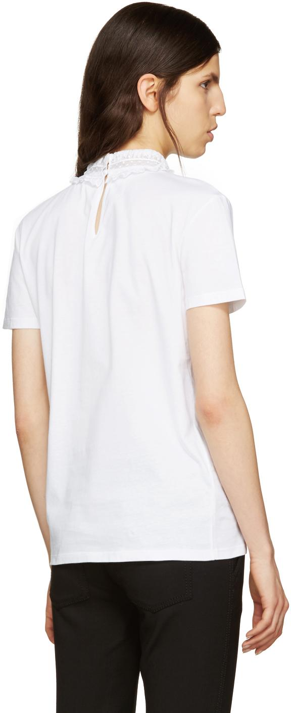 Miu miu white lace collar t shirt in white lyst for Miu miu t shirt