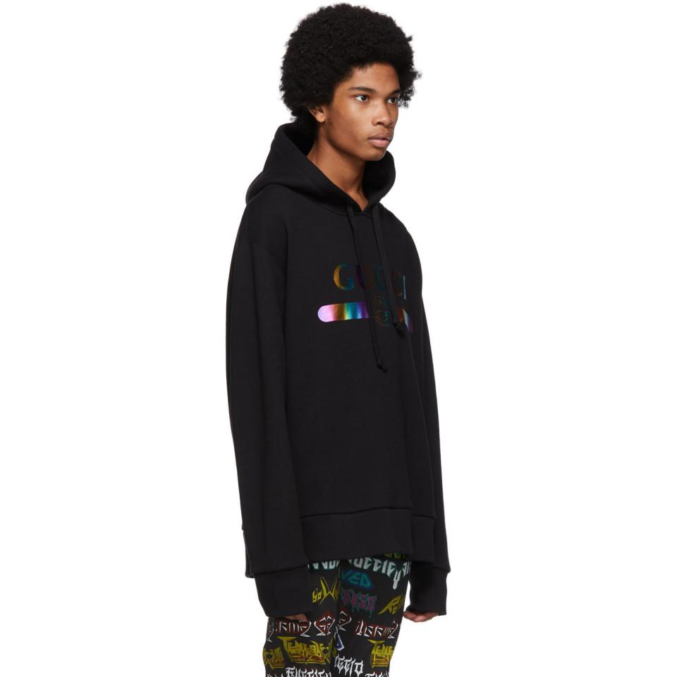 17fd1a0cbcf Gucci - Black Rainbow Logo Hoodie for Men - Lyst. View fullscreen