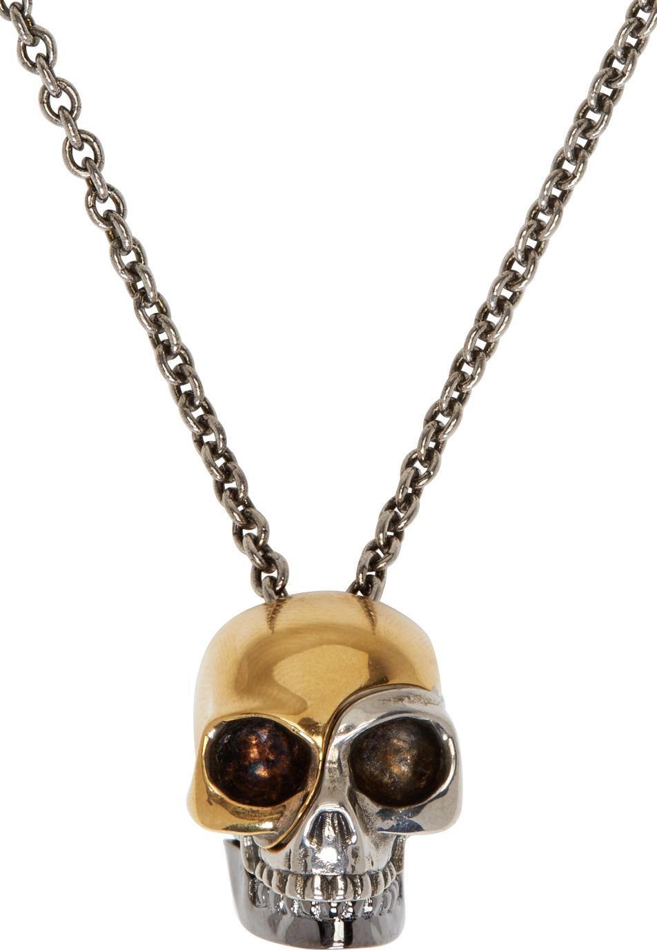 Lyst Alexander Mcqueen Silver Amp Gold Divided Skull