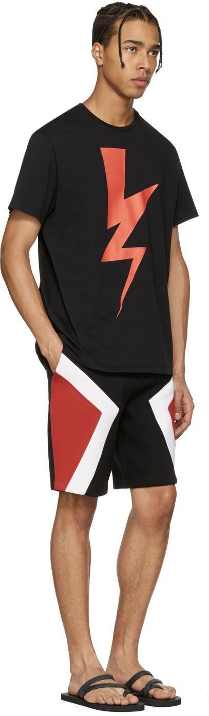 373dbc4d030 Lyst - Neil Barrett Black Thunderbolt Flip Flops in Black for Men
