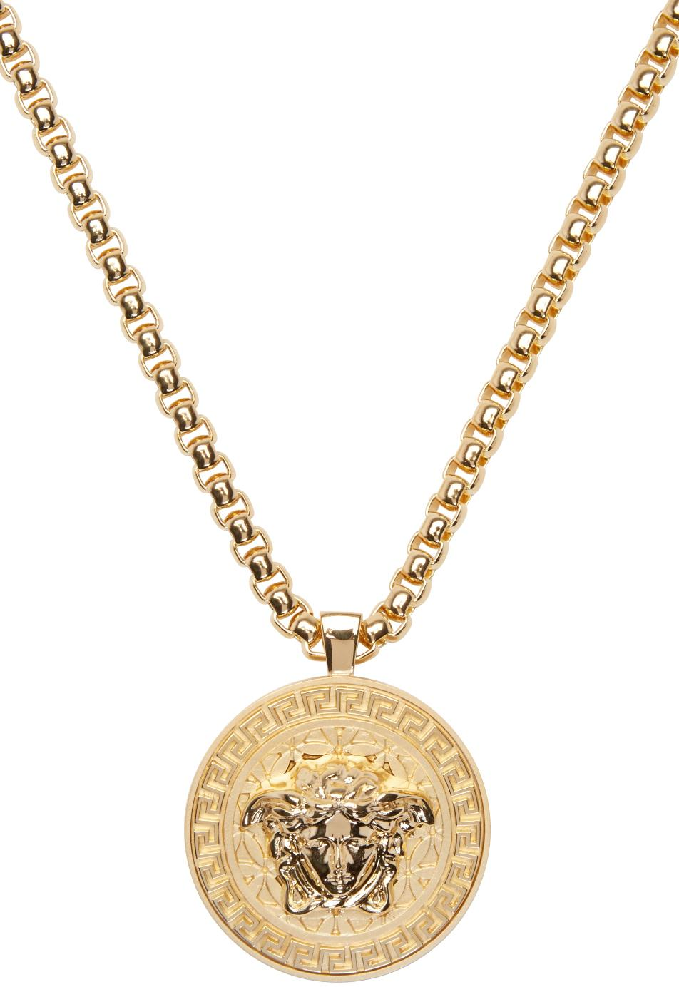 lyst versace gold medusa chain necklace in metallic for men. Black Bedroom Furniture Sets. Home Design Ideas