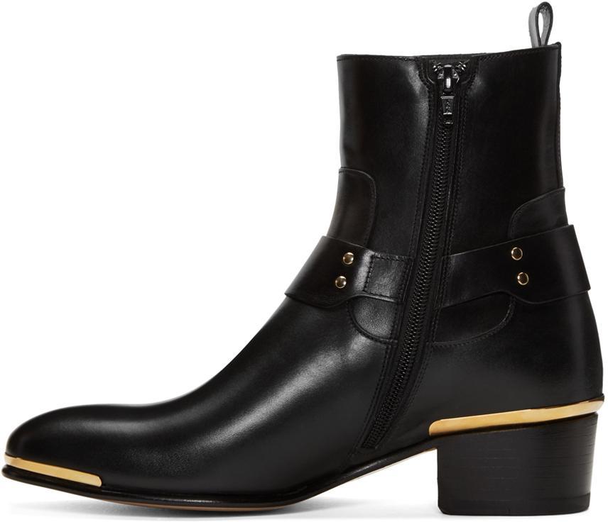Versace Black Medusa Harness Boots In Black For Men Lyst
