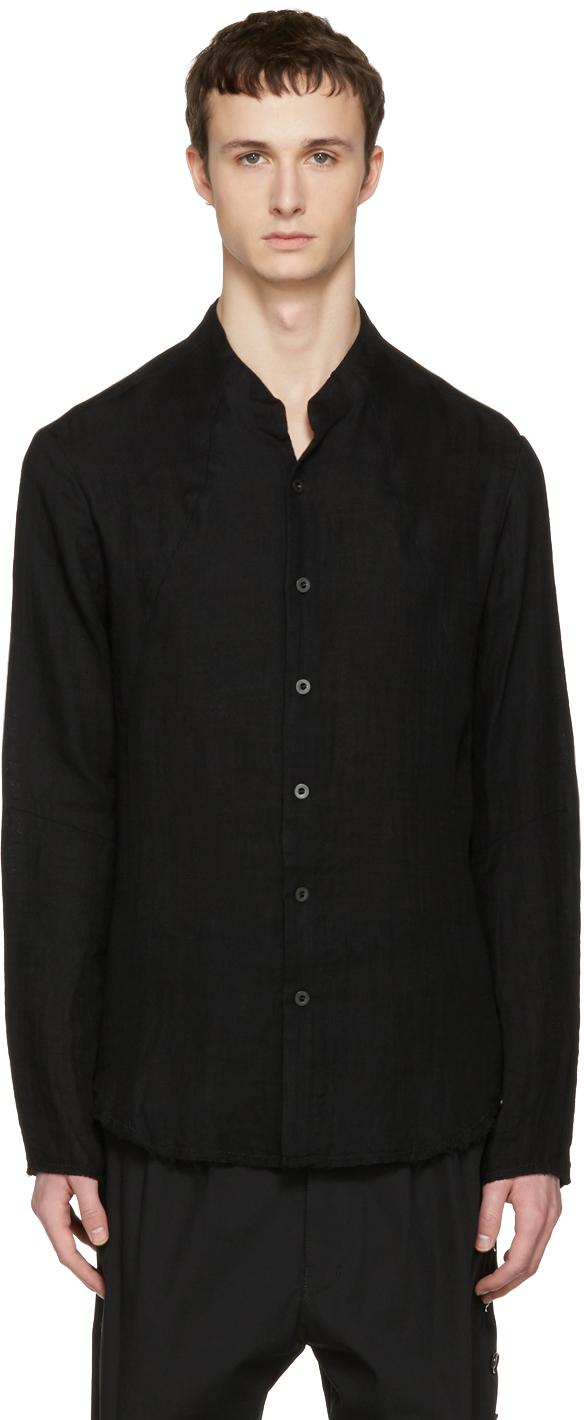 Nude mm black button down shirt in black for men lyst for Mens black button down shirt