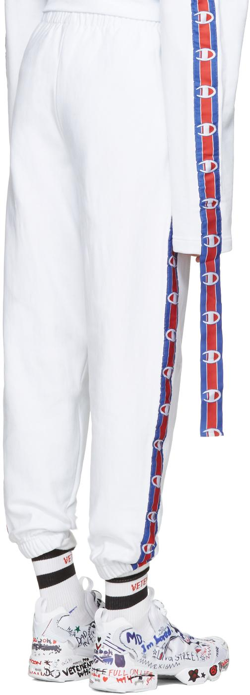 82bb52074 Vetements White Champion Edition Tape Track Pants in White for Men - Lyst