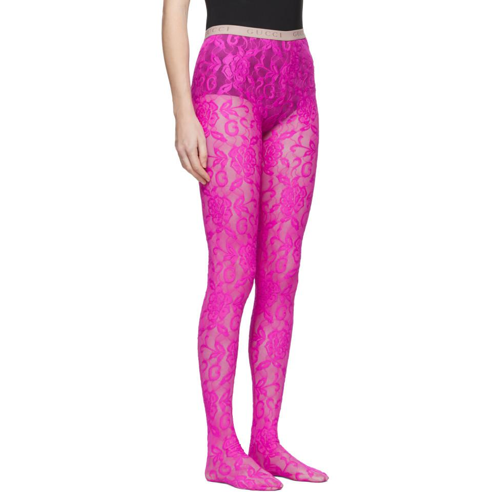 5237c0812 Gucci - Pink Lace Tights - Lyst. View fullscreen
