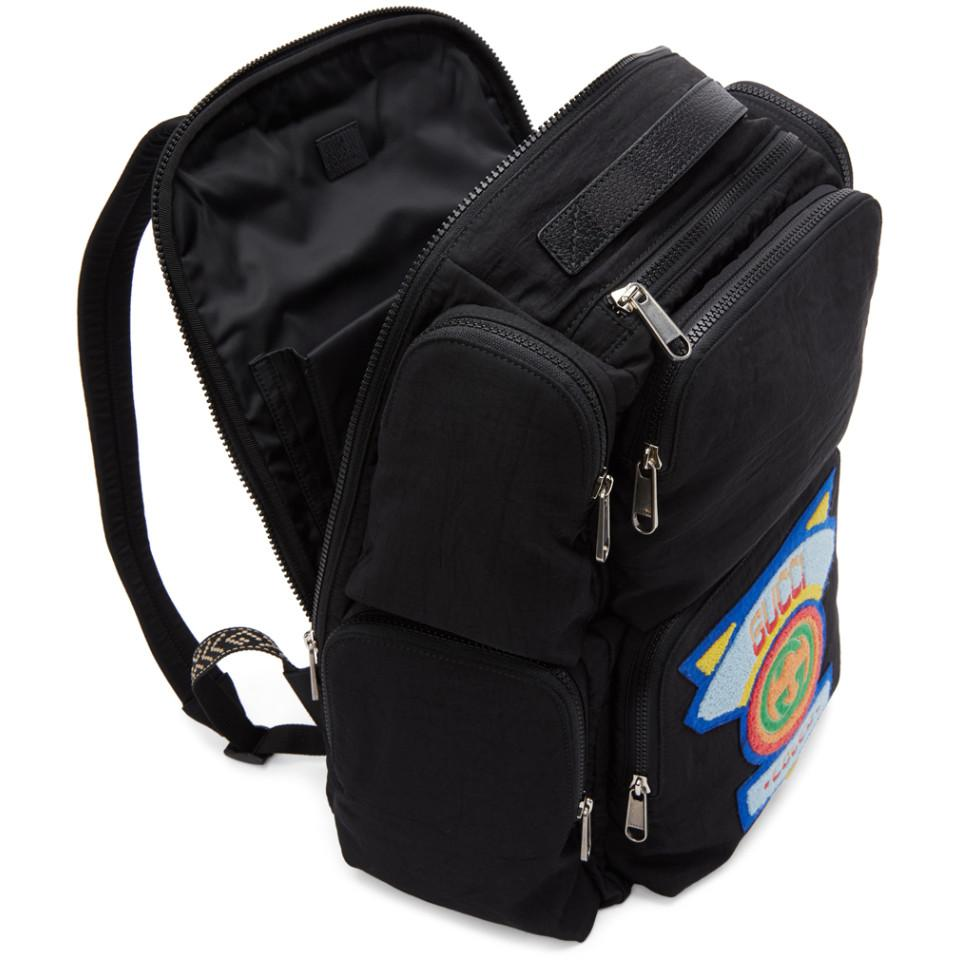 22793416f9cf Gucci - Black Large Backpack With  80s Patch for Men - Lyst. View fullscreen