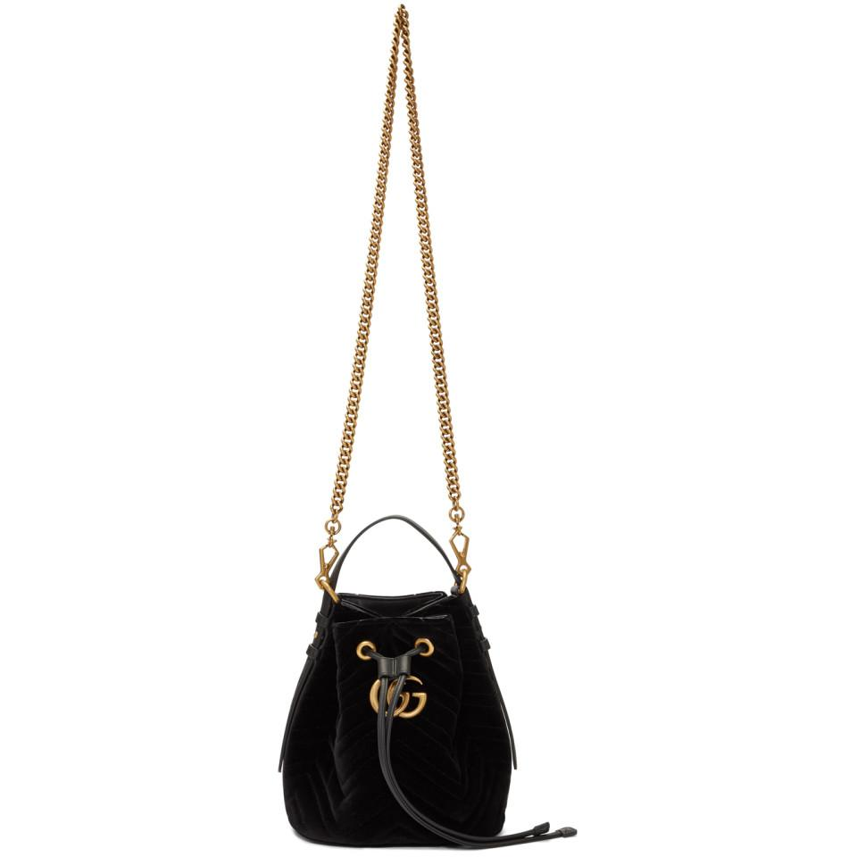 8fc3224d9436 Gucci Black Suede Quilted GG Marmont 2.0 Bucket Bag in Black - Lyst