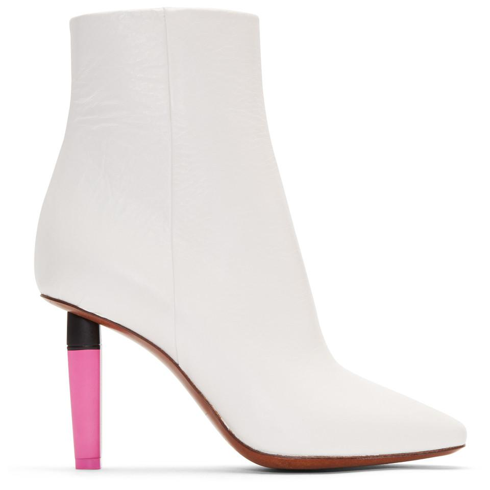 Balenciaga White & Pink Highlighter Ankle Boots E4SjsFAao