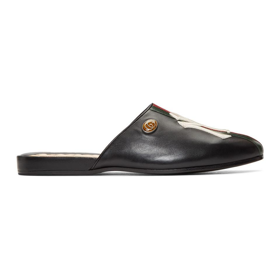 2dae3bbd8 Lyst - Gucci Black Ny Yankees Edition Web Flamel Loafers in Black ...