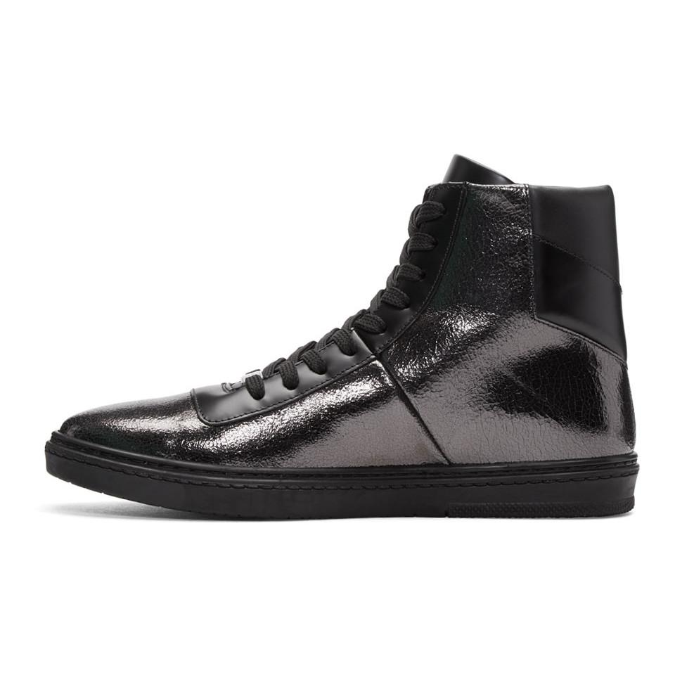Jimmy Choo Black Crackled Metallic Bruno High-Top Sneakers em51AMQ