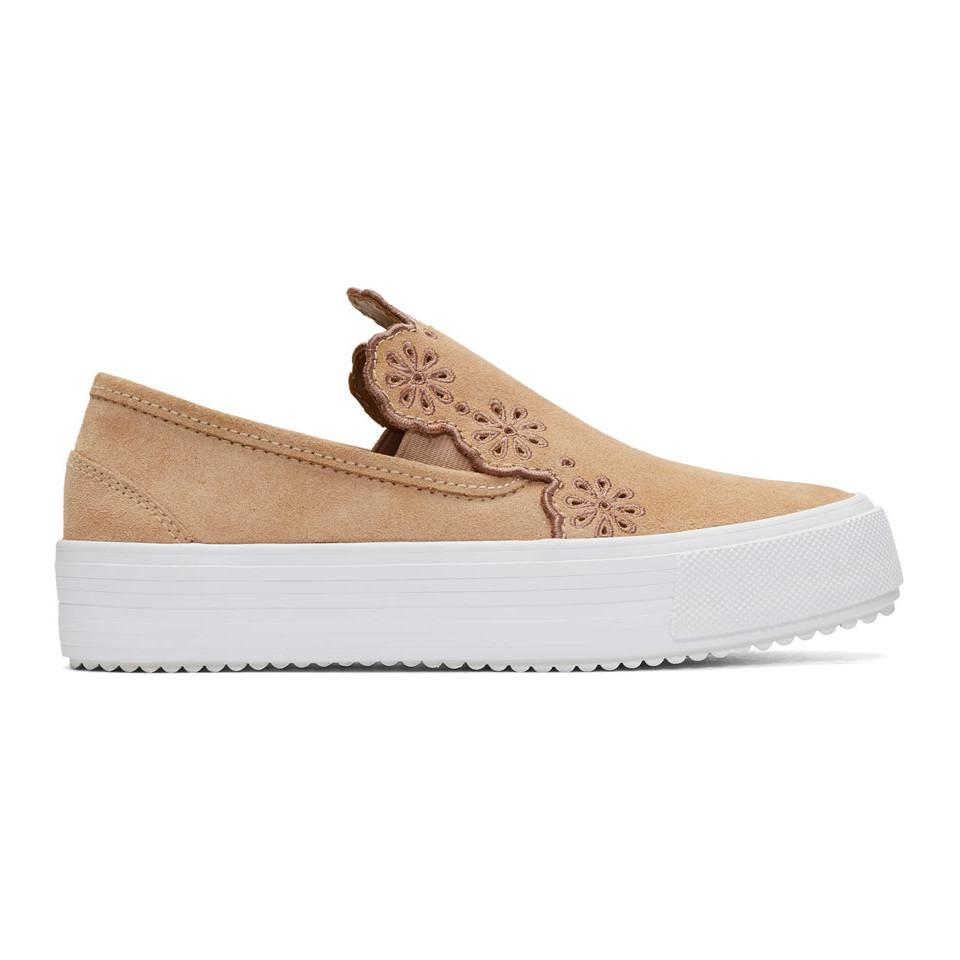 Chloé See By Chloé Woman Leather-trimmed Suede Wedge Sneakers Size 35