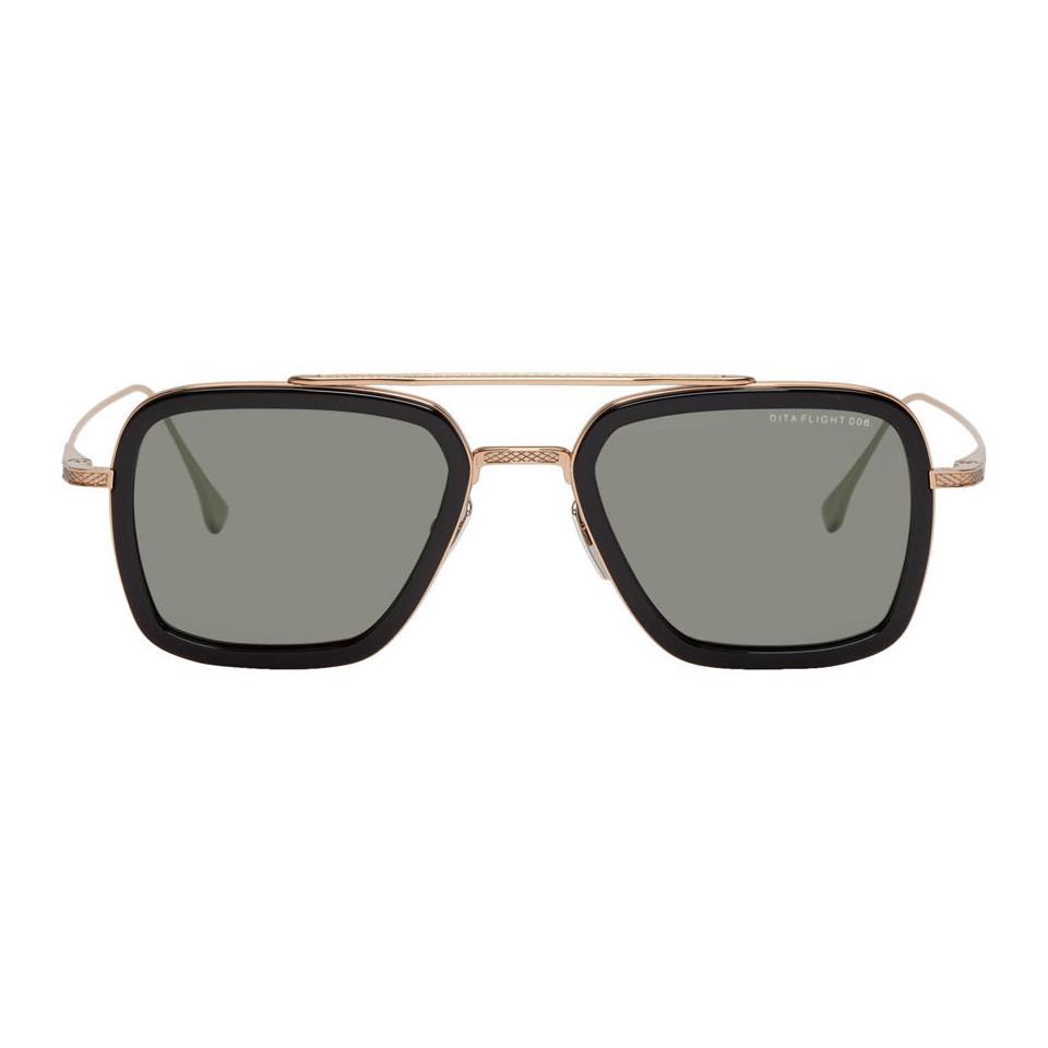156eafad902a Lyst - DITA Black And Gold Flight.006 Aviator Sunglasses for Men