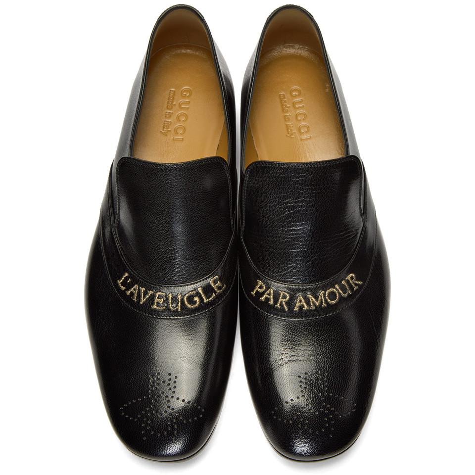 a6a8a1eb697 Gucci Black  l aveugle Par Amour  Donnie Loafers in Black for Men - Lyst