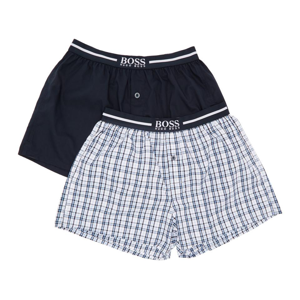Two-Pack Navy and Blue Check Printed Boxers HUGO BOSS Outlet Discount Amazon Sale Online 100% Original For Sale Free Shipping 100% Original YEQWM