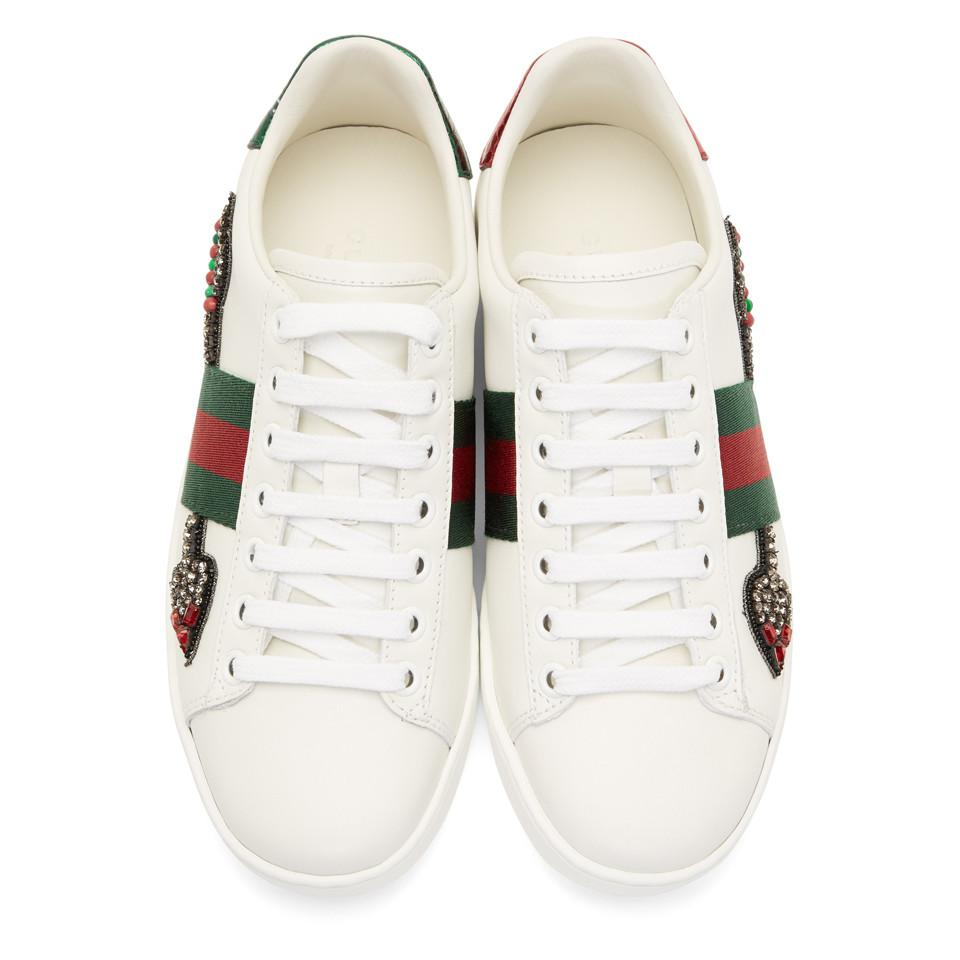f2ab98e5288 Lyst - Gucci Ace Arow-embroidered Leather Sneakers in White - Save 5%