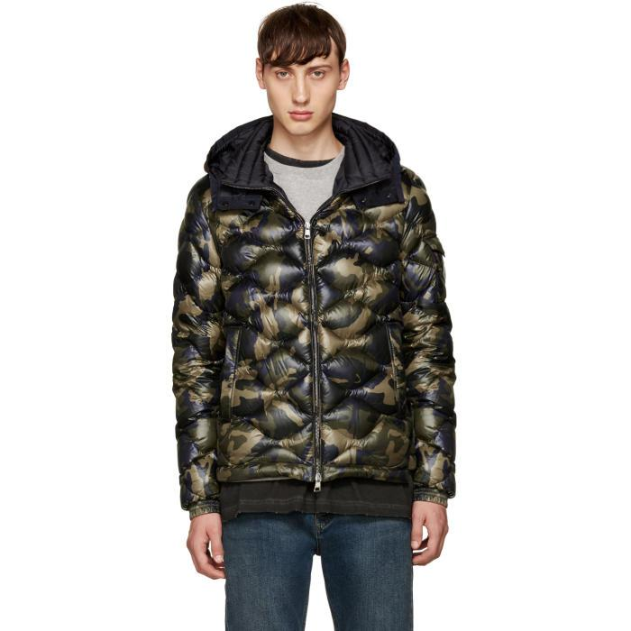 80c94464c9141 Moncler Green Camo Down Morandieres Jacket in Black for Men - Lyst