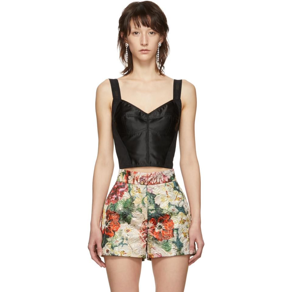 09ccf4d771fef Lyst - Dolce   Gabbana Black Lace Longline Bra in Black