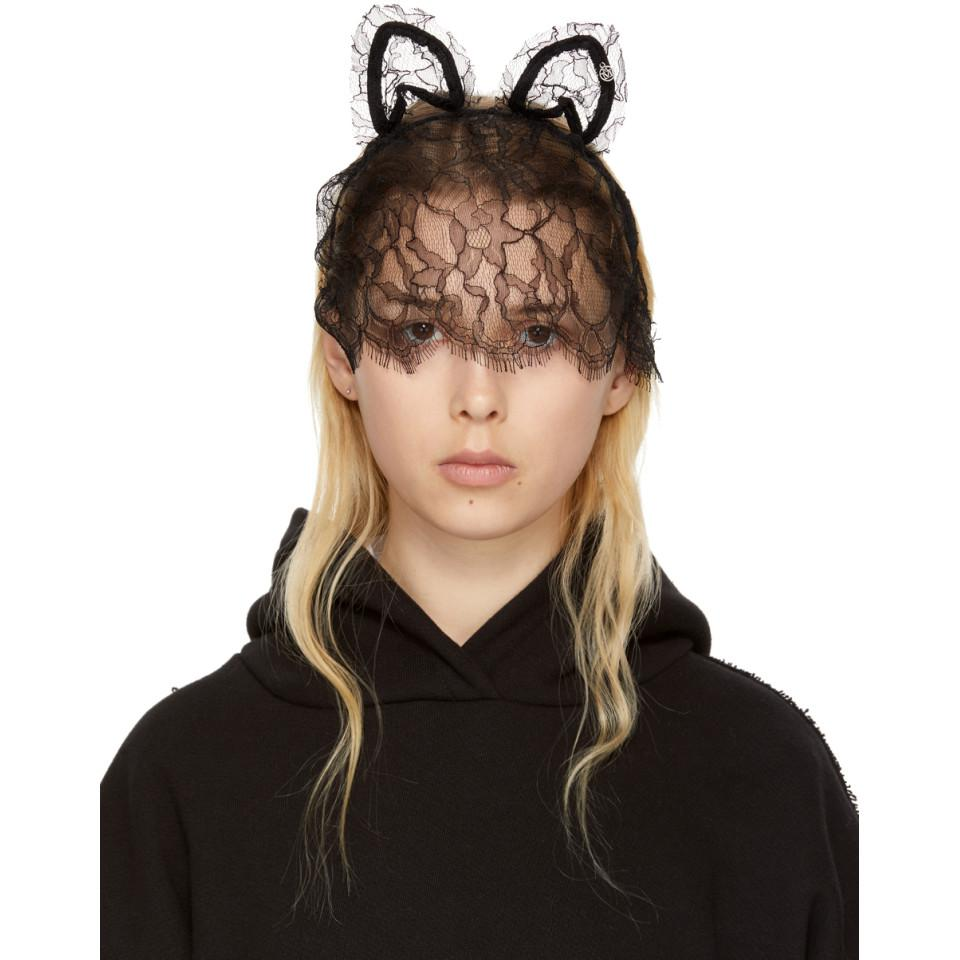 Maison Michel Lace Cat Ears with Veil in Black fh2Bo4l9Y