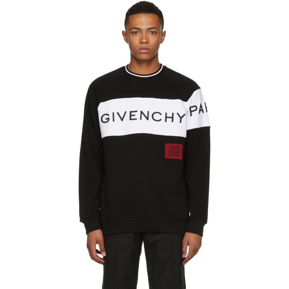 08ef3465ea6 Lyst - Pull molletonne noir et blanc 4G Vintage Fit Givenchy pour ...