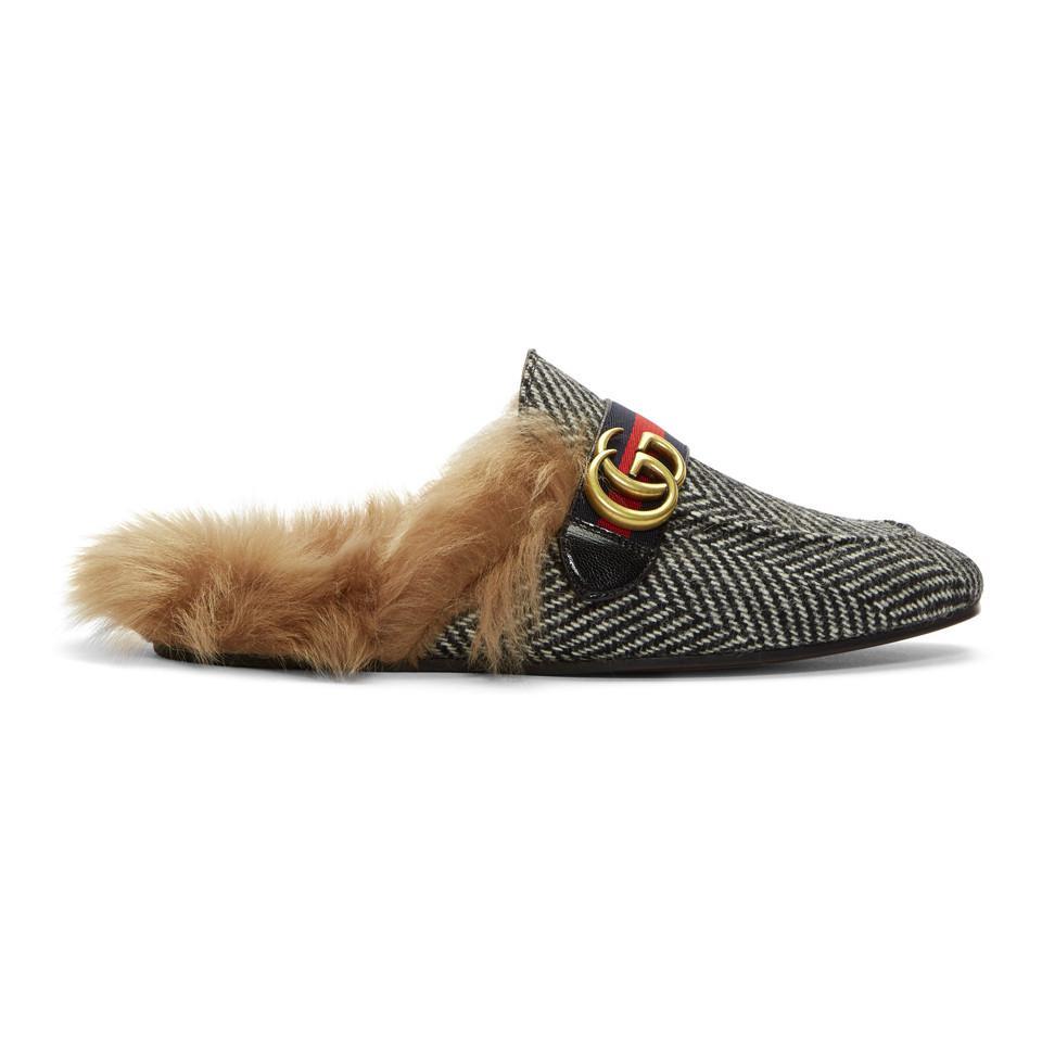 Gucci & Herringbone Wool-Lined Princetown Slip-On Loafers qTBaRmJfE