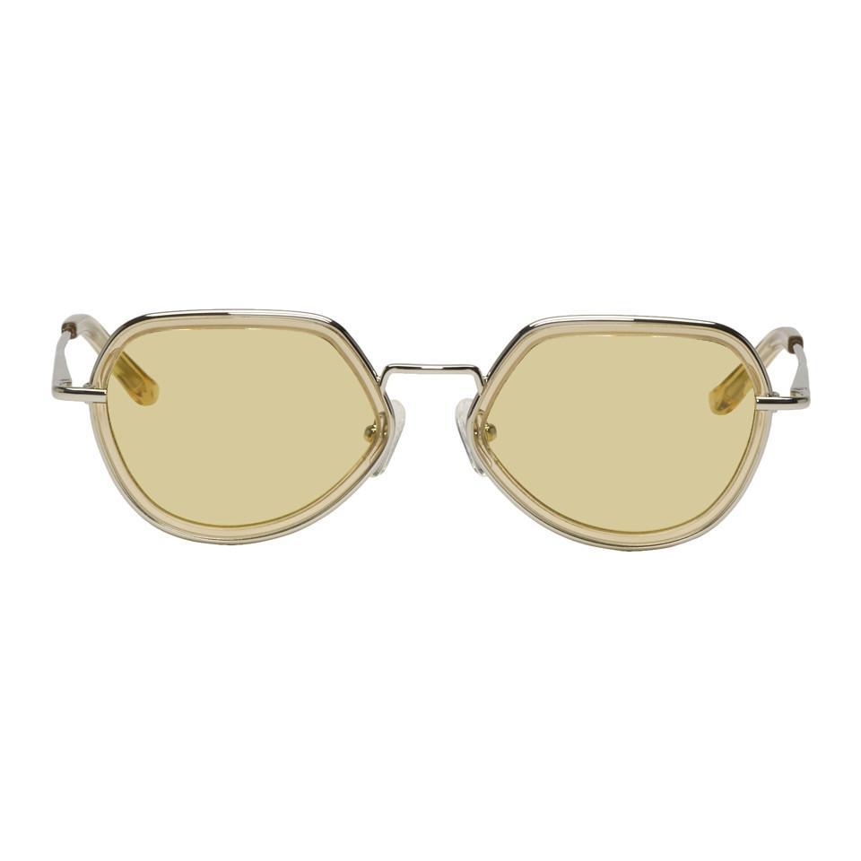 608614b9f5 Dries Van Noten. Women s Yellow And Silver Linda Farrow Edition Almond  Sunglasses