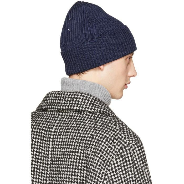 045f80b697d Lyst - Maison Margiela Navy Rib Knit Beanie in Blue for Men