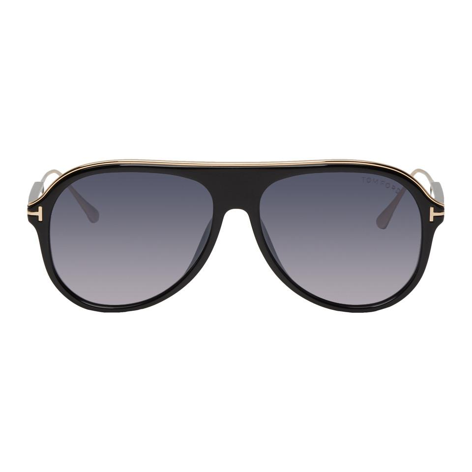 0e31969eaa2 Tom Ford Black And Gold Nicholai-02 Sunglasses in Black for Men - Lyst
