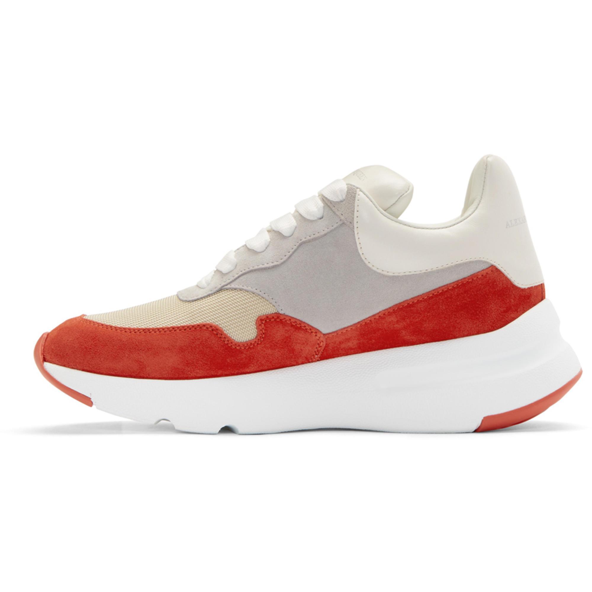 Alexander McQueen Red & White Colorblock Sneakers kCoPgrdi0t