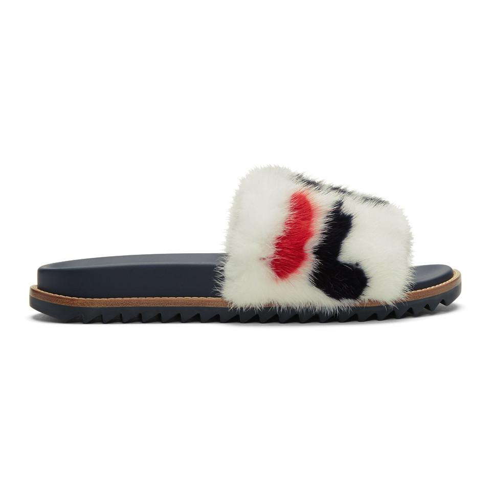 7cde85176 Lyst - Fendi Mania Mink And Leather Slides for Men - Save 43%