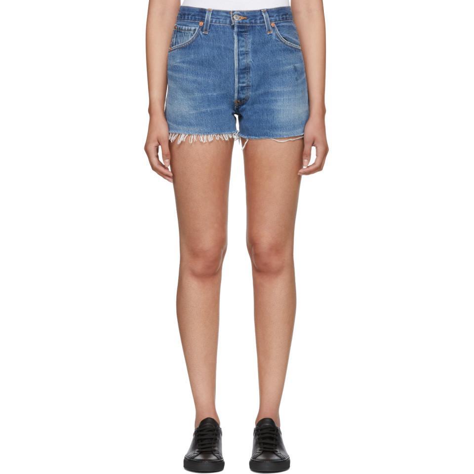 Re/Done Side Zip Denim Shorts Discount For Sale 9xQImBl9Qn