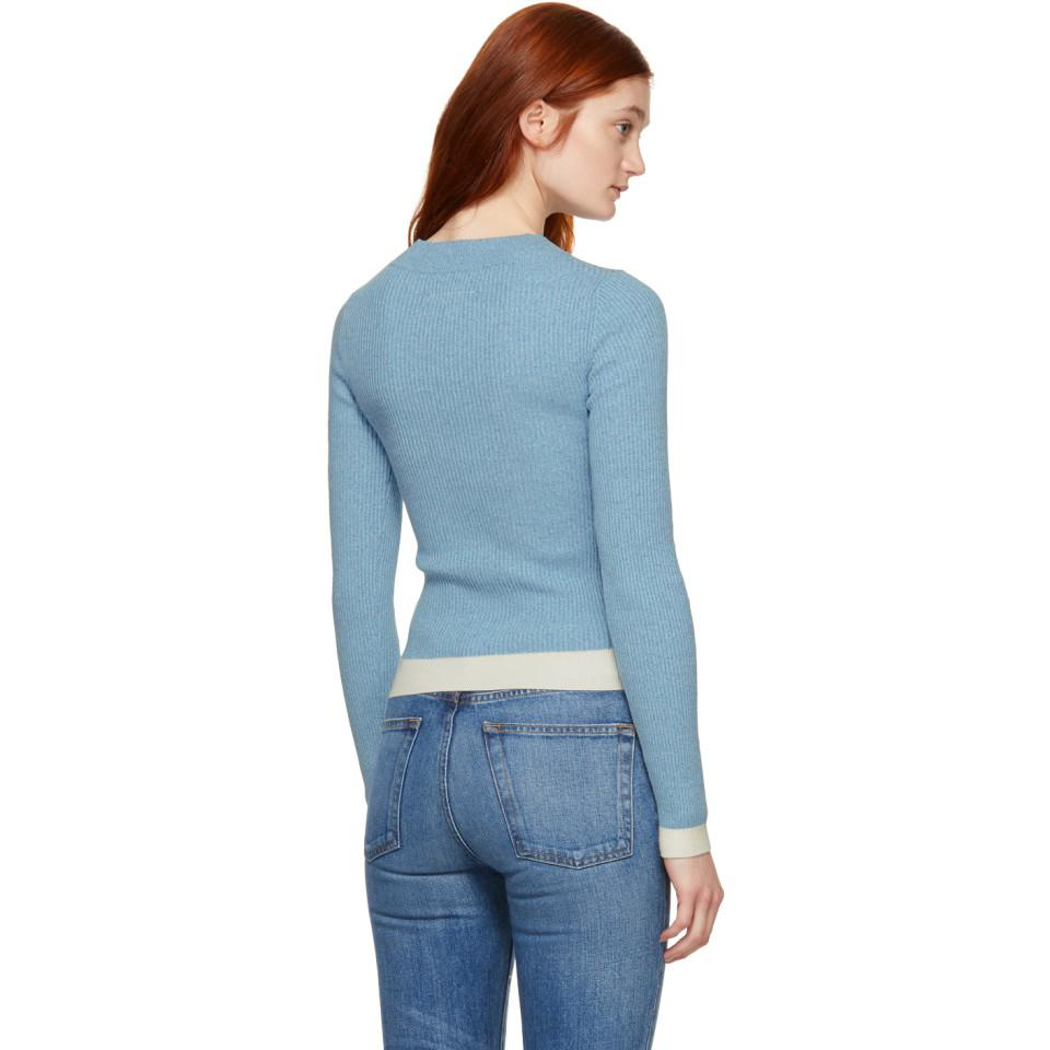 63b091788e MM6 by Maison Martin Margiela - Blue Gauge 18 Contrast Sweater - Lyst. View  fullscreen
