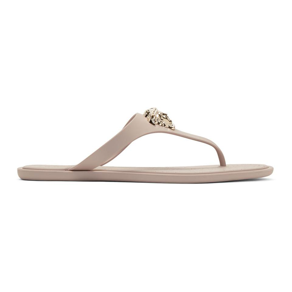 Taupe Rubber Medusa Sandals Versace Good Selling Online Cheap Sale Wiki T711lW