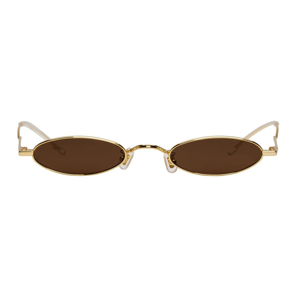 35ce8ee73378 Gentle Monster Ssense Exclusive Gold And Brown Vector Sunglasses in ...