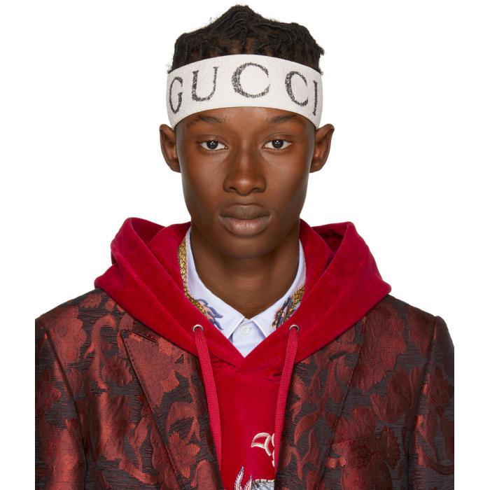 Lyst Gucci Off White Logo Headband In White For Men
