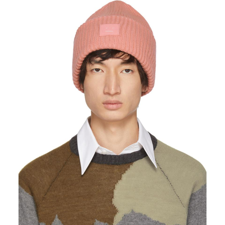 e23118ebecd Acne Studios Pink Pansy N Face Beanie in Pink for Men - Lyst