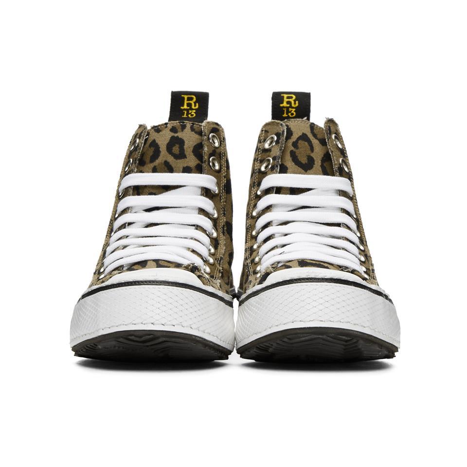 Brown and Black Leopard High-Top Sneakers R13 TEUibjgeY