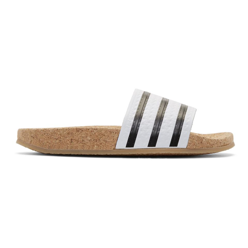7f6e75e04 Lyst - adidas Originals White Adilette Cork Slide Sandals in White
