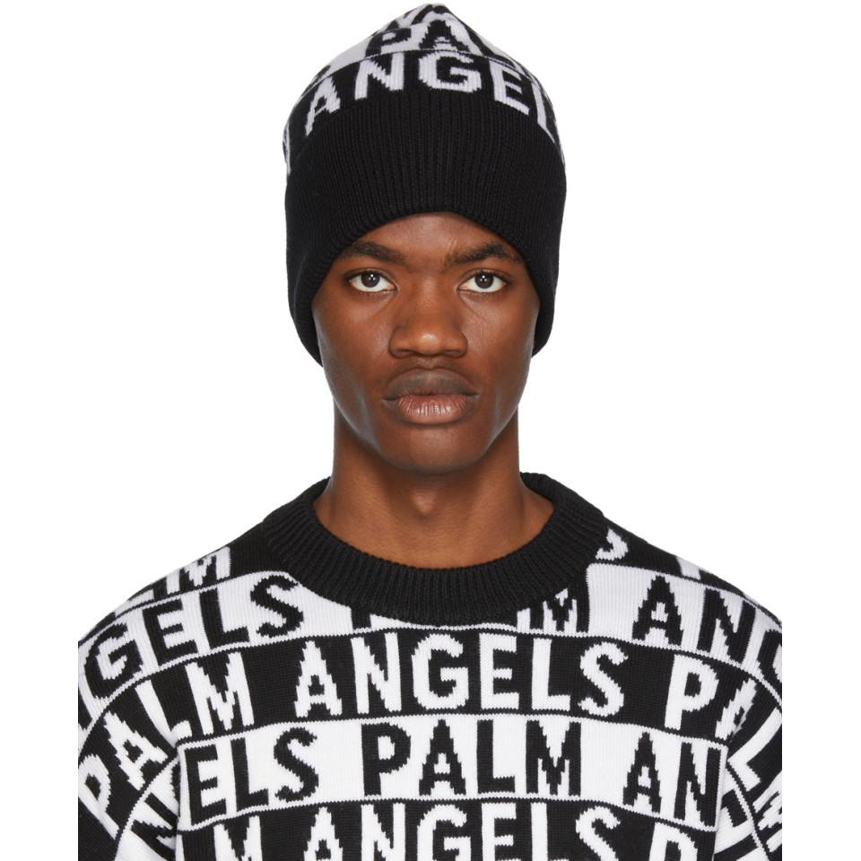 Palm Angels Black And White Logo Beanie in Black for Men - Lyst 61b4a8a3c7b2