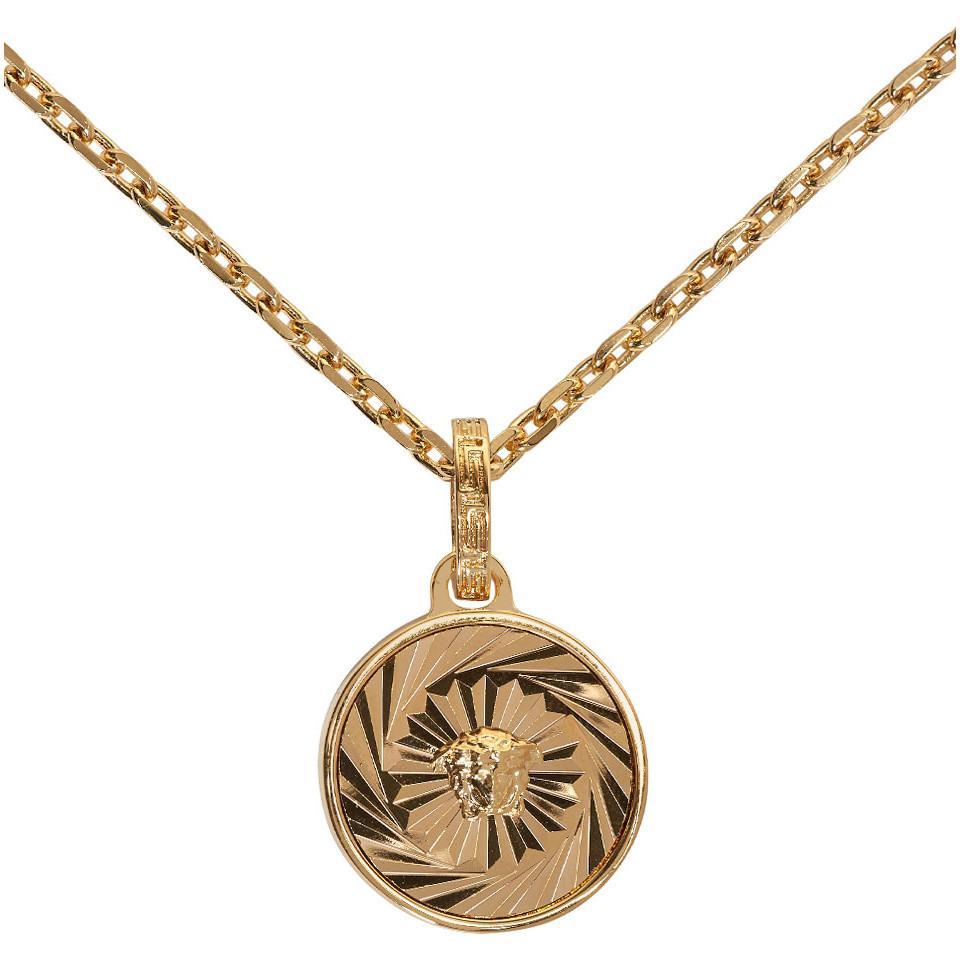 43c50ab6c6b2 Lyst - Collier a chaine et pendentif rond dore Versace pour homme en ...