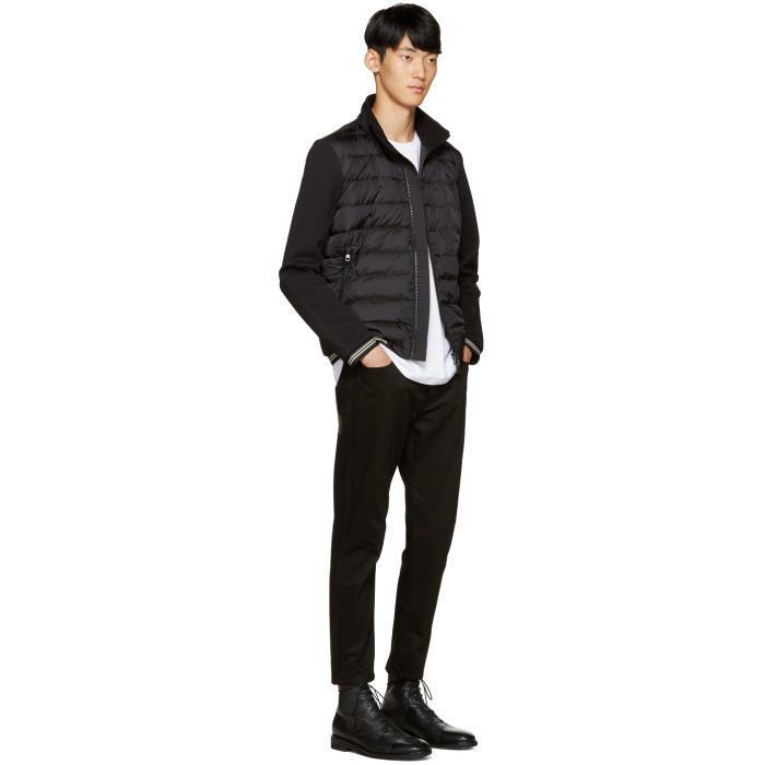 Moncler Black Down Maglia Sweater In Black For Men Lyst