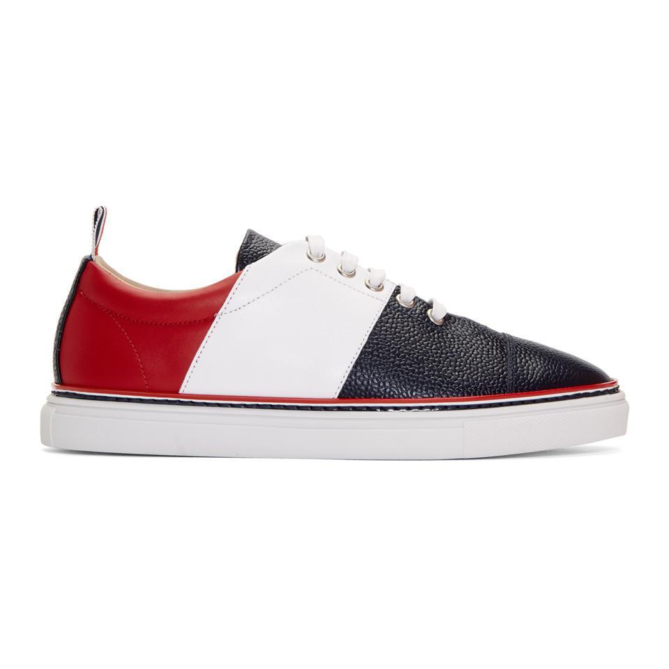 Magasin De Dédouanement Rabais Magasin De Jeu En Ligne Thom Browne Tricolor Straight Toe Cap Sneakers Abordables À Vendre Vente De Nombreux Types De kiXpbb