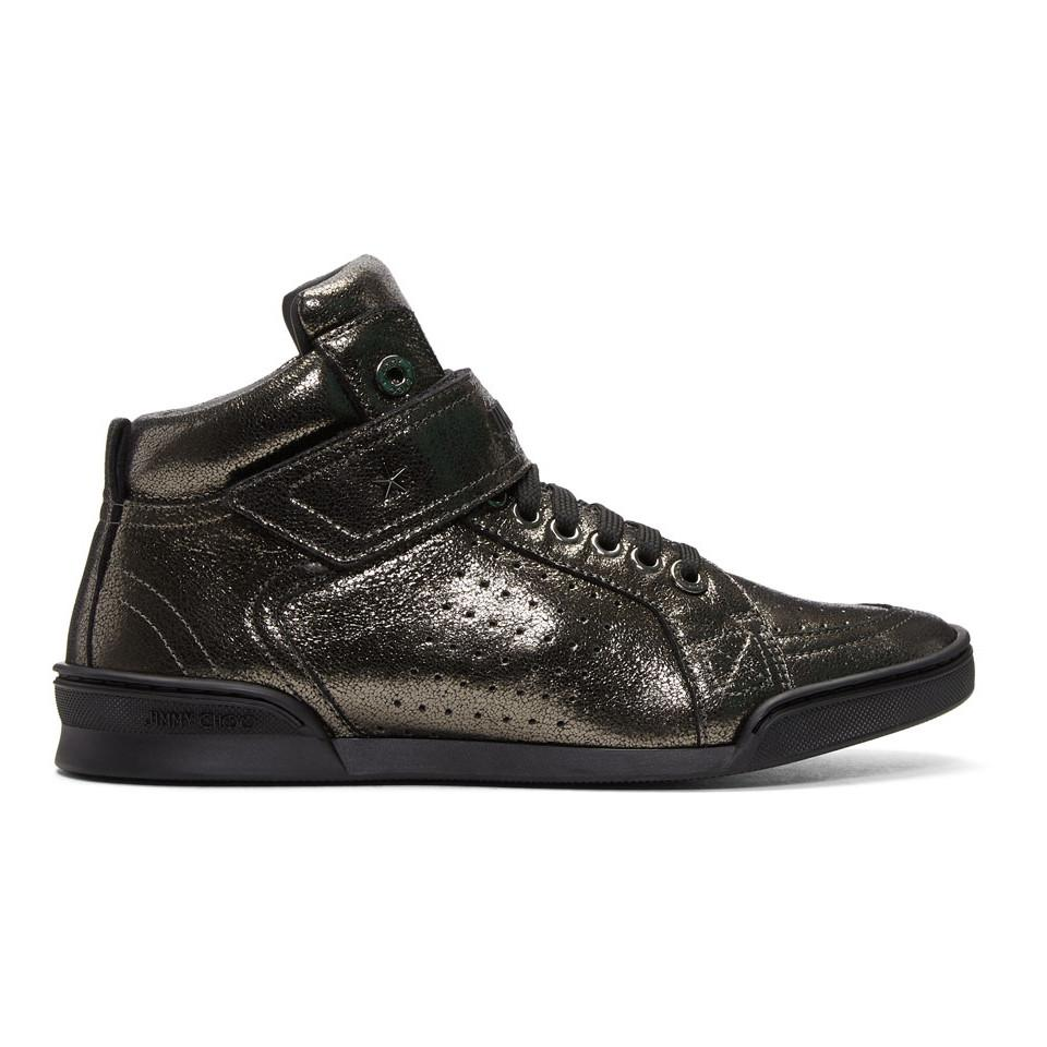 Jimmy choo Gunmetal Metallic Lewis High-Top Sneakers auxDvjUFd
